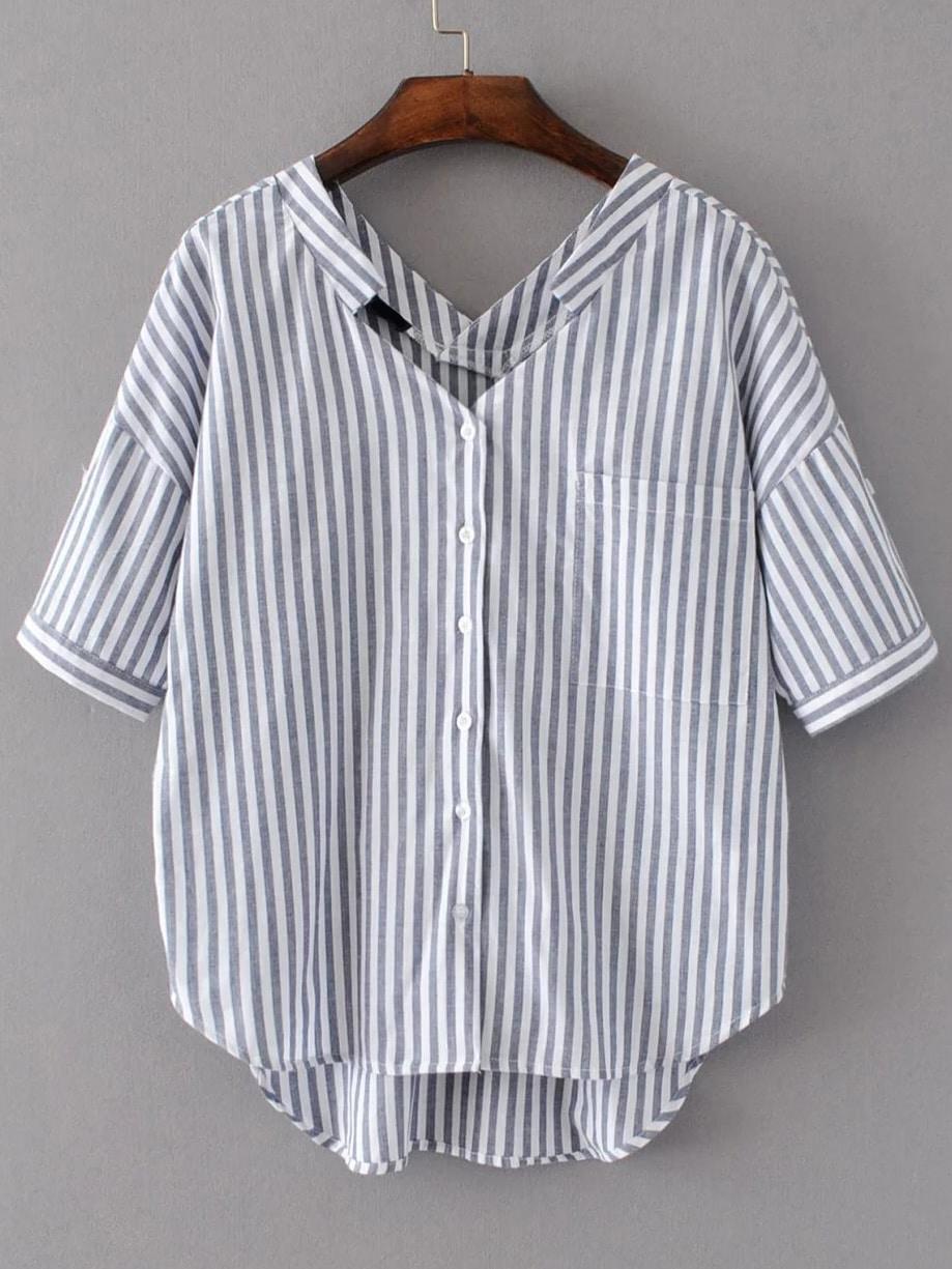 Vertical Striped Double V Neckline High Low Blouse blouse170321207