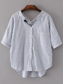 Vertical Striped Double V Neckline High Low Blouse