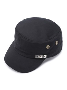 Studded And Eyelet Design Cap