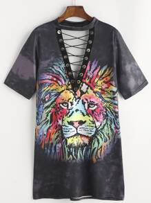 Bleach-dye Lion Print Grommet Lace Up Tee Dress