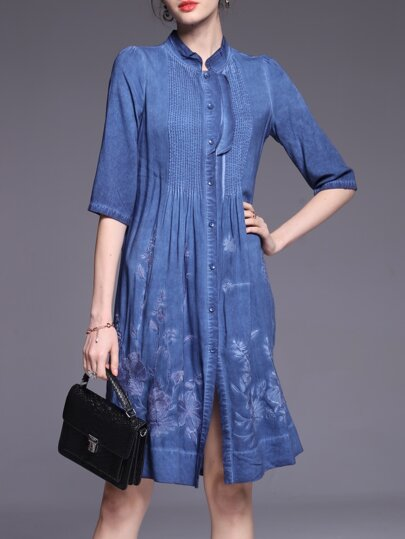 Blue Pleated Flowers Embroidered Dress