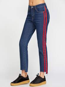 Side Panel Stripe Asymmetric Raw Hem Jeans