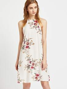 Calico Print Keyhole Back Slip Dress