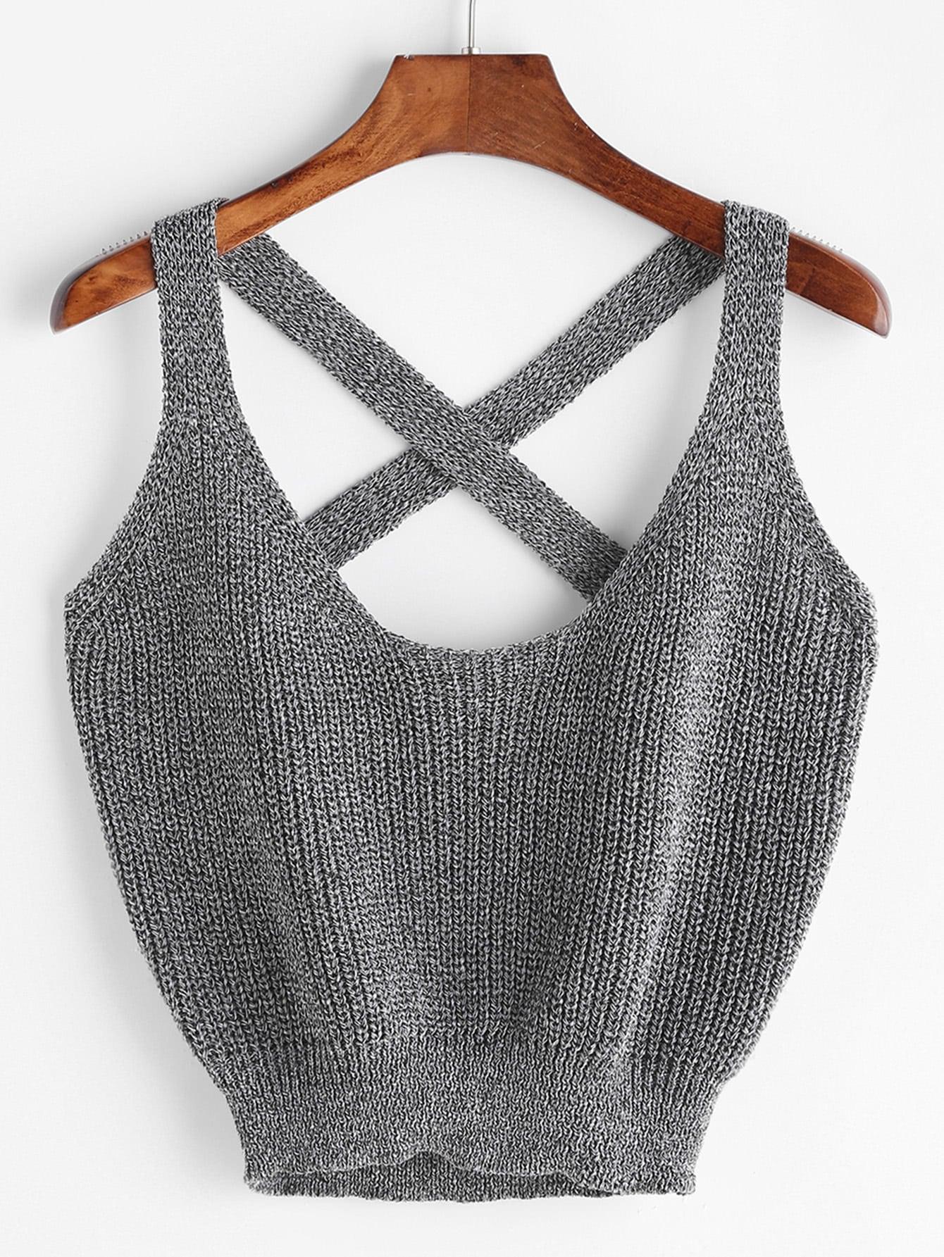 Marled Knit Crisscross Tank Top vest170328457