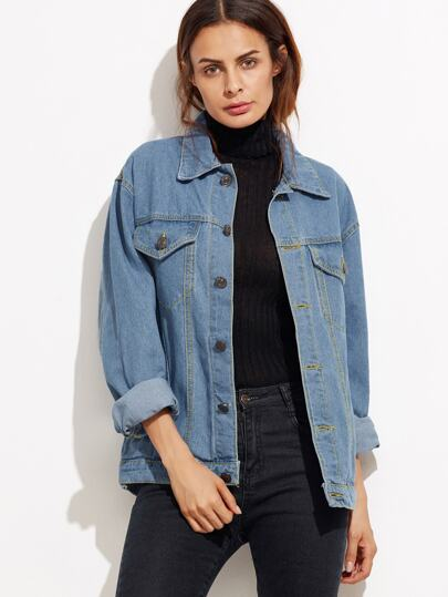 Button Front Pockets Boyfriend Denim Jacket -SheIn(Sheinside)