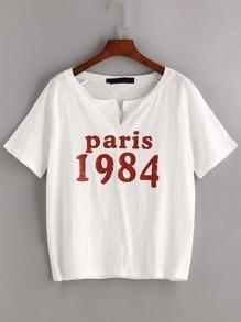 White Letter Print Raglan Sleeve T-shirt