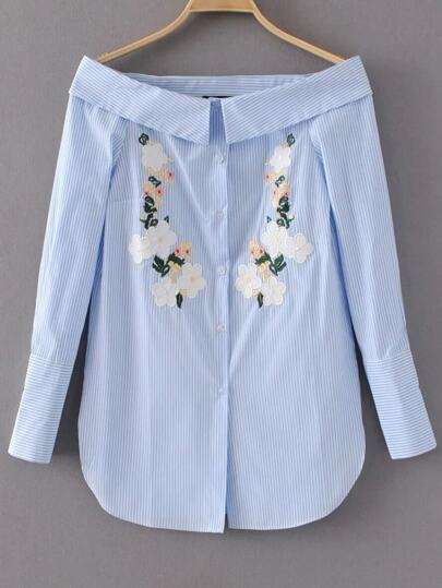 Bardot Vertical Striped Flower Embroidery Blouse