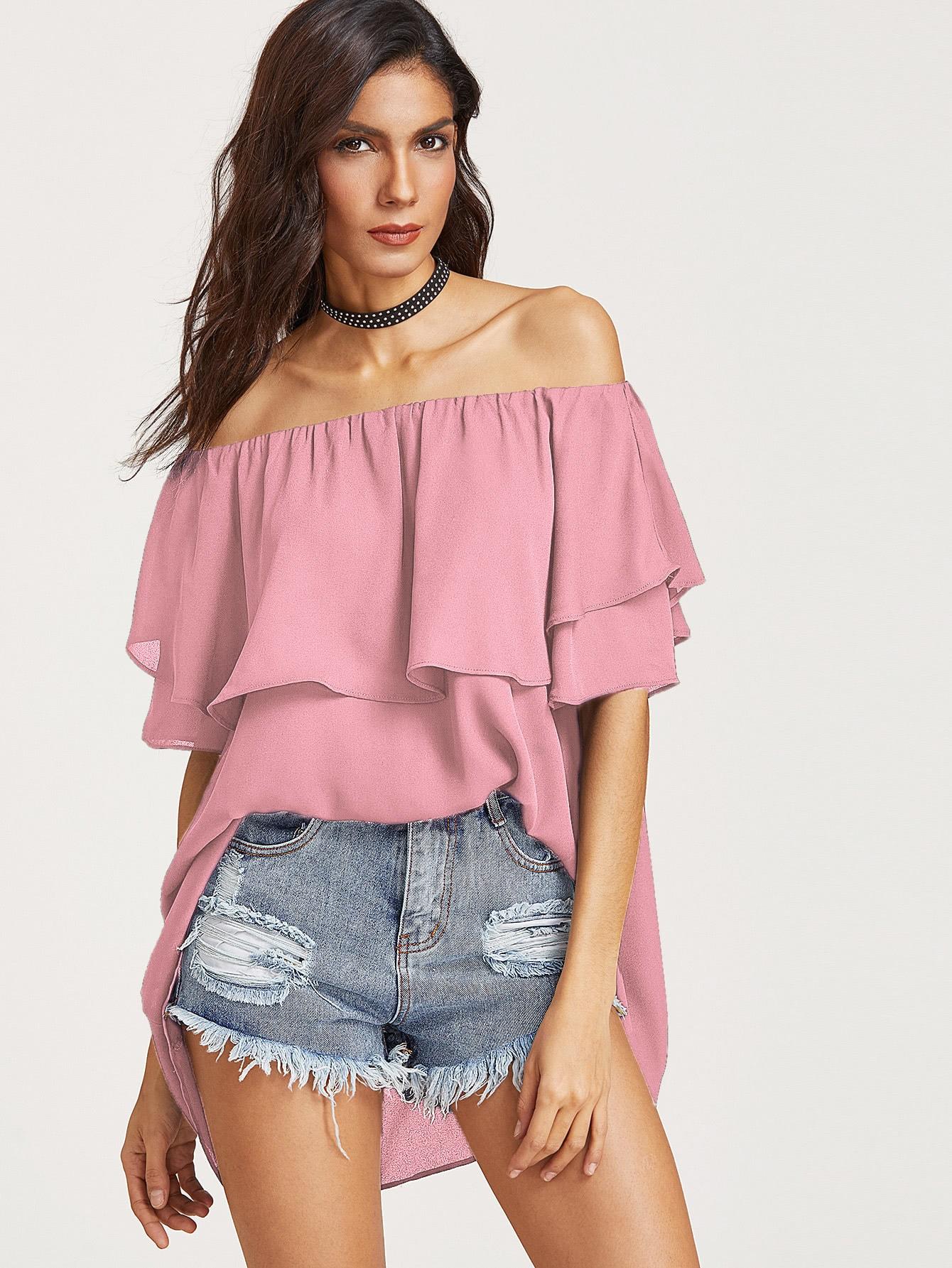 Купить Розовый модный топ со сборкой и открытыми плечами, Lais, SheIn