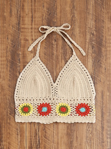 Circle Pattern Hem Crochet Halter Neck Top