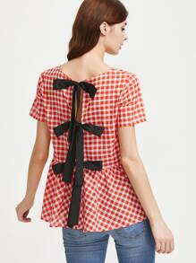 Split Bow Tie Back Checked Top