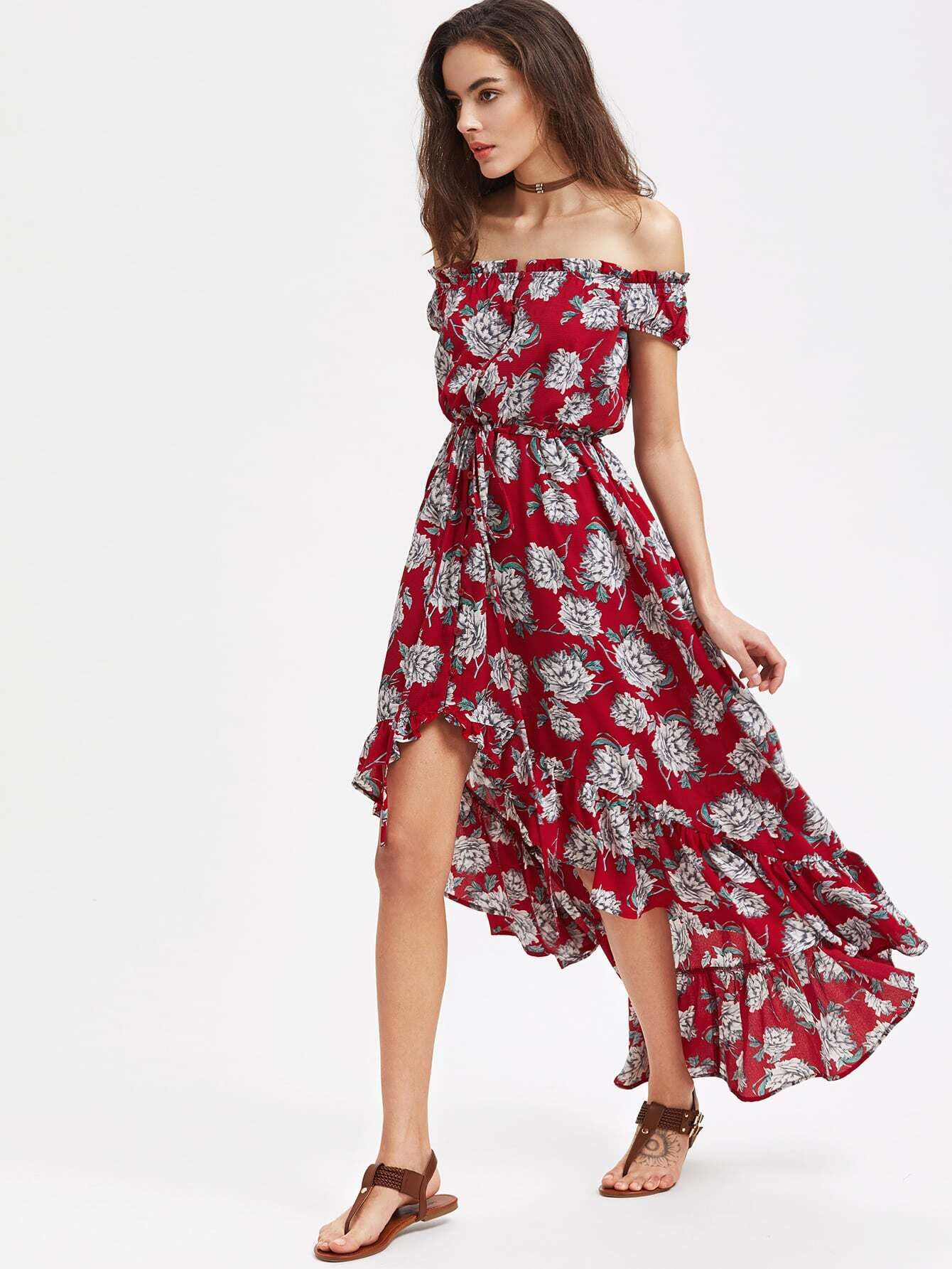 все цены на Flower Print Button Front Drawstring Waist High Low Ruffle Dress