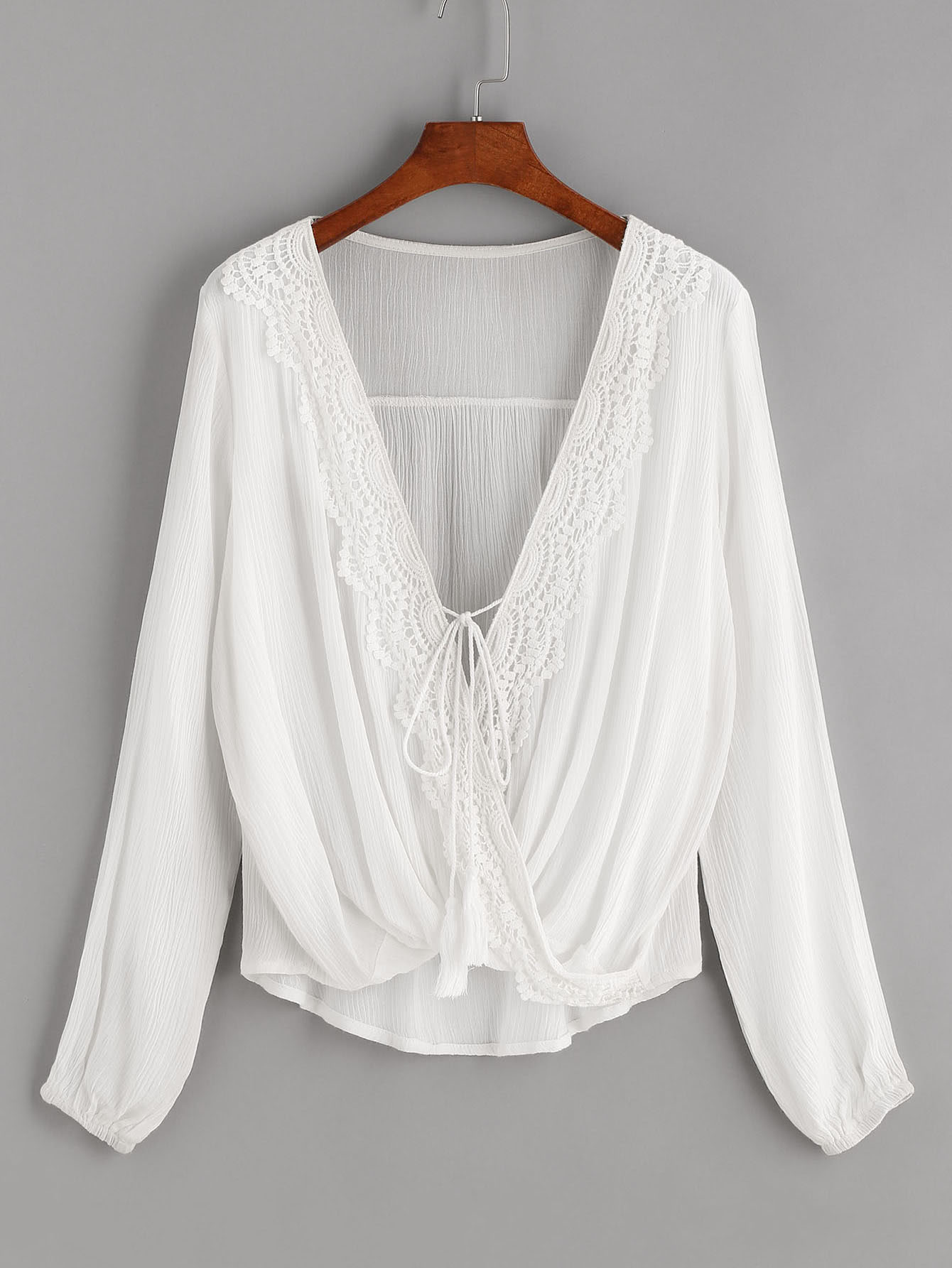 Contrast Crochet Twisted Drape Front Self Tie Tassel Blouse