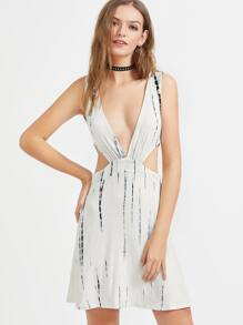 Tie Dye Deep V Neck Cut Out Side Dress