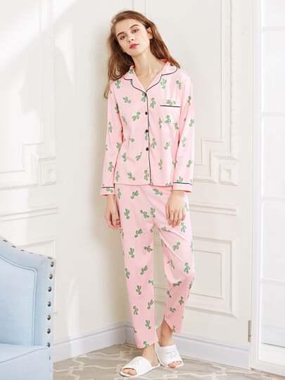 Cactaceae Print Long Pajama Set