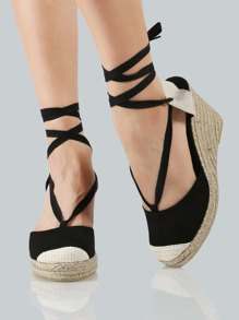 Cork Wedge Lace Up Sandals BLACK