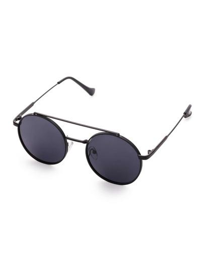 Black Frame Flat Lens Double Bridge Round Sunglasses