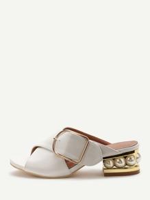 Sandalias de tacón grueso pu con hebilla - blanco