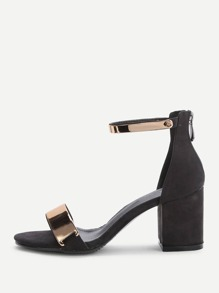 Sandalias de tacón grueso con correa al tobillo metálico - negro