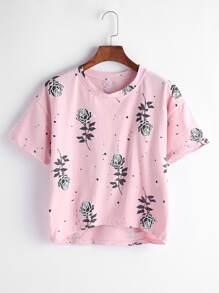 Pink Roses Print Dip Hem T-shirt