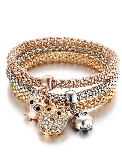 Multicolor Owl Charm Bracelet 3Pcs
