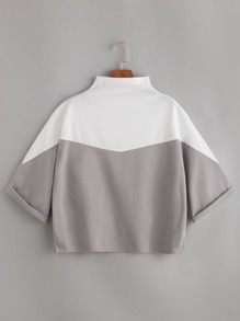 Color Block Mock Neck Cuffed T-shirt
