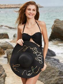 Black Sequin Letter Wide Brim Straw Hat