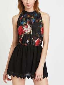 Florals Halterneck Keyhole Back Crochet Lace Trim Dress