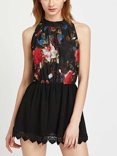 Florals Halterneck Keyhole Back Crochet Lace Trim Skirt Romper