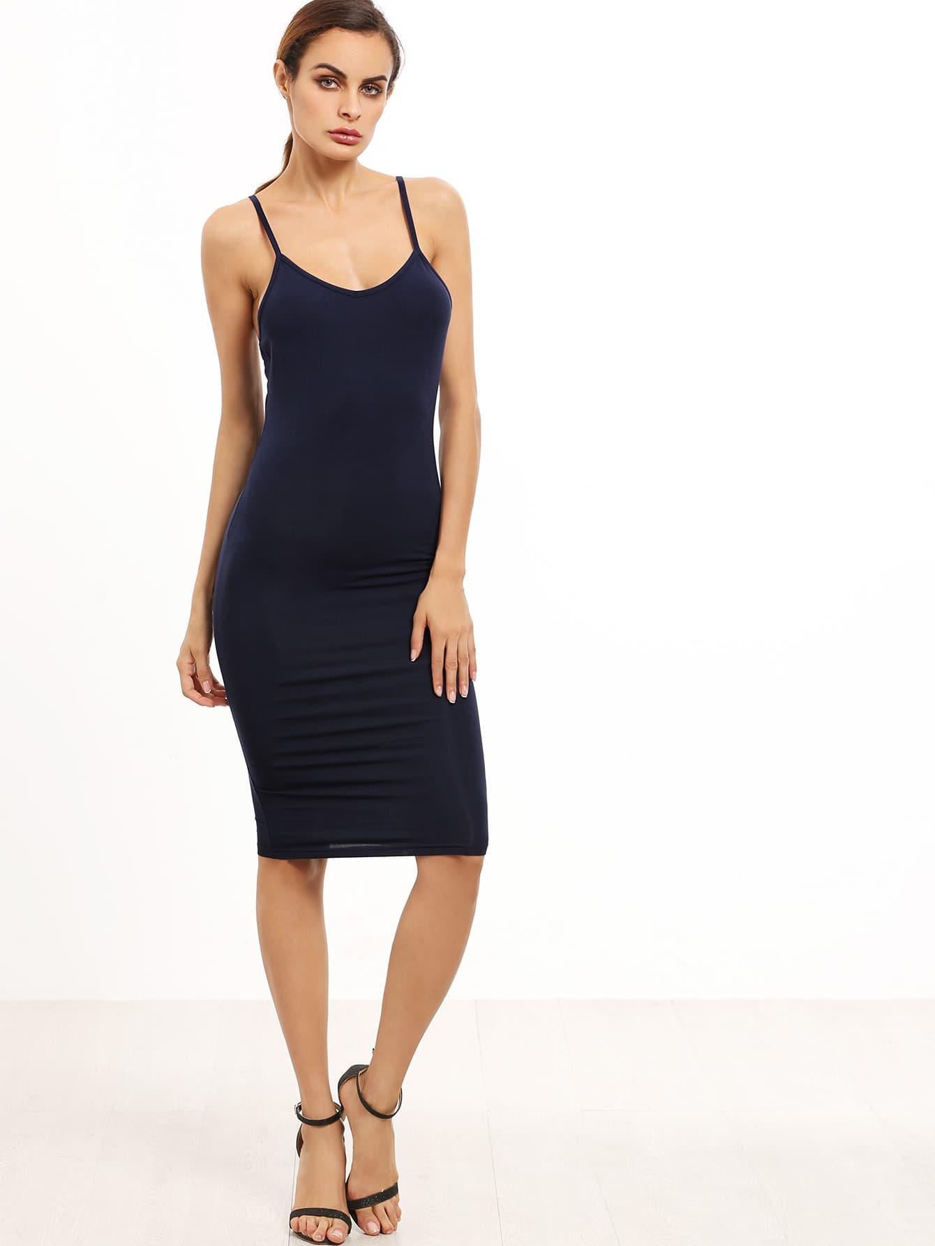 Navy Spaghetti Strap Sheath Dress dress160720762