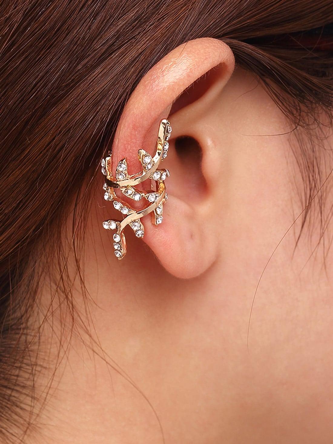 Фото Gold Rhinestone Leaf Shape Ear Cuff. Купить с доставкой