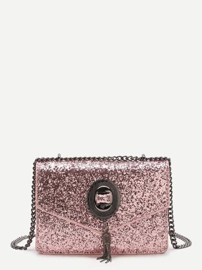 Bolso de cadena con lentejuelas y flecos - rosa