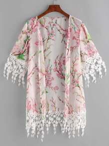 Kimono avec imprimé floral et dentelle - multicolore