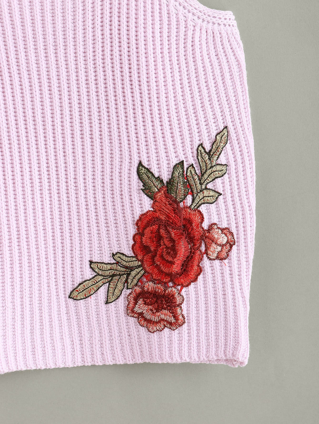 Embroidered rose patch knit racer cami top shein sheinside