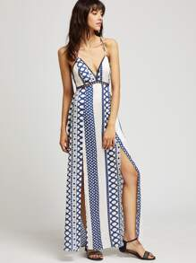 Geo Print Lace Insert Crisscross M-Slit Cami Dress