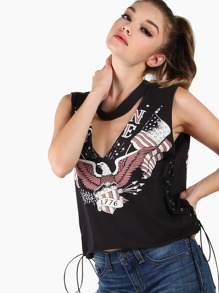 Deep V Graphic Muscle Crop Top BLACK
