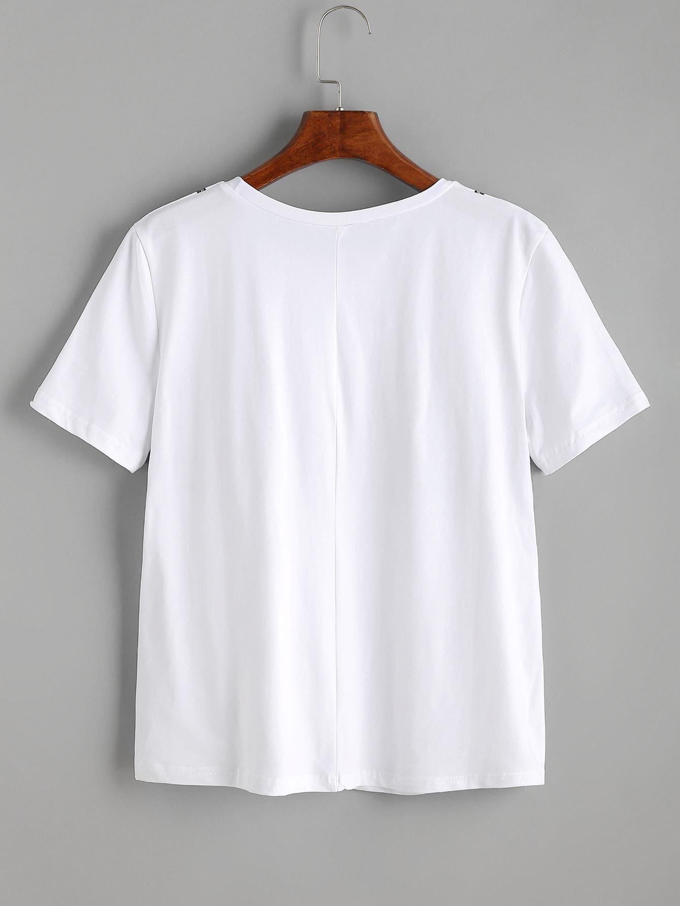 White bra print t shirt shein sheinside for White bra white shirt