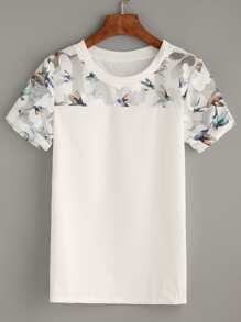 White Bird Stampa Mesh Insert Top