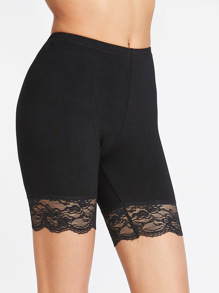 Lace Trim Short Leggings