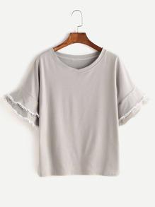 Grey Tiered Bell Sleeve Crochet Trim T-shirt
