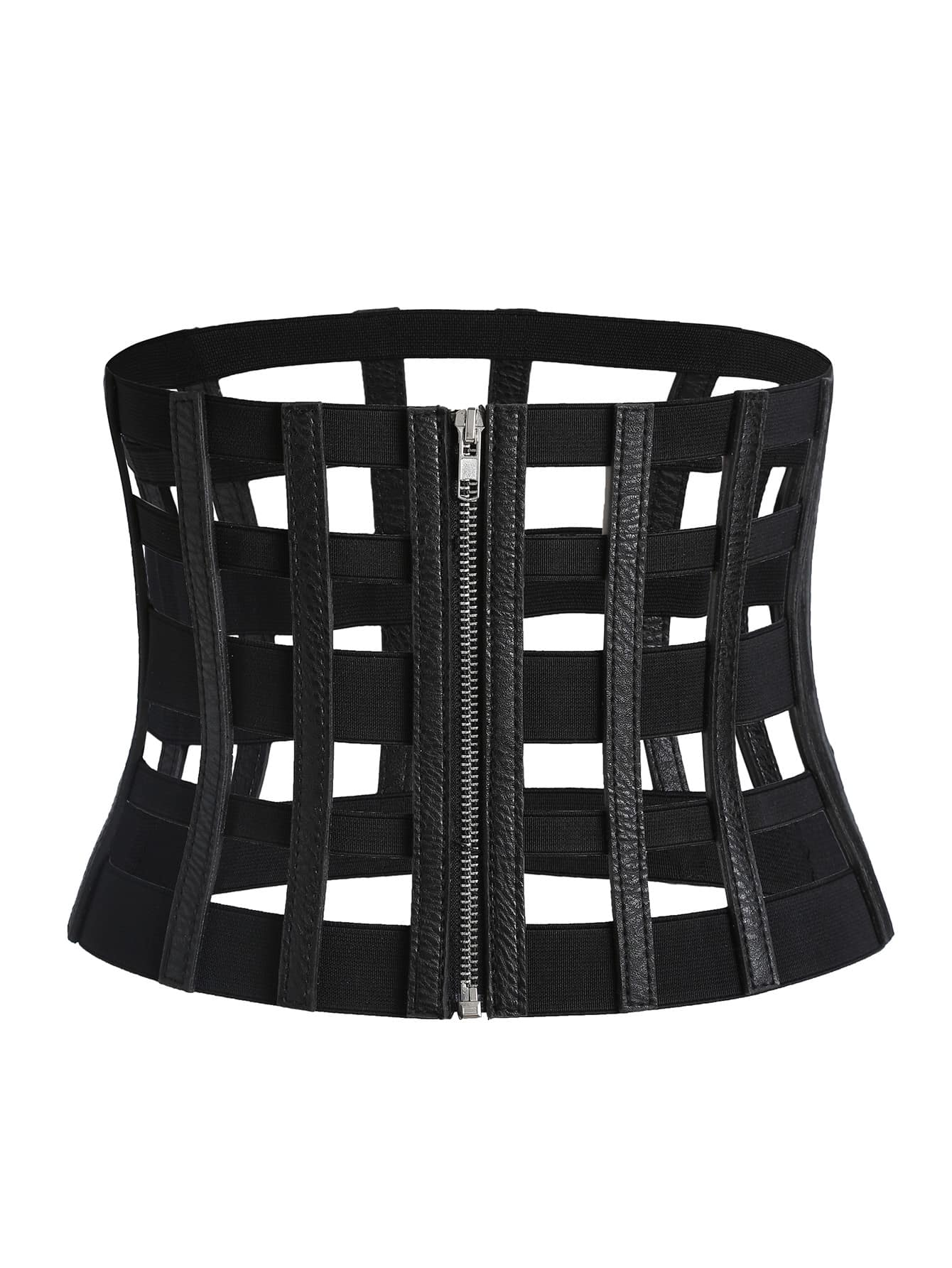 Image of Black Cutout Zipper Corset Belt
