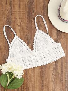 White Crochet Crop Cami Top