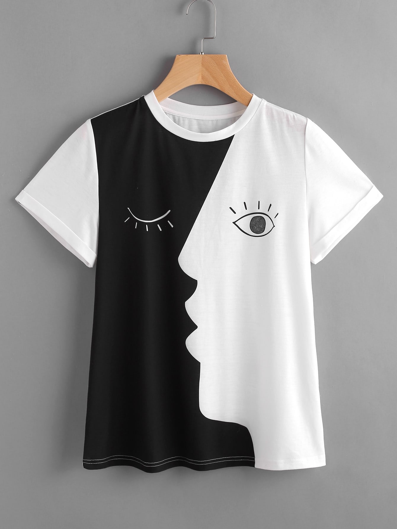 Image of Abstract Face Print Roll Sleeve T-shirt