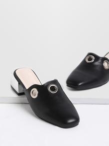 Nero Occhiello Dettaglio tacco Pantofole