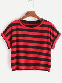 Contrast Striped Dolman Sleeve Cuffed Crop T-shirt