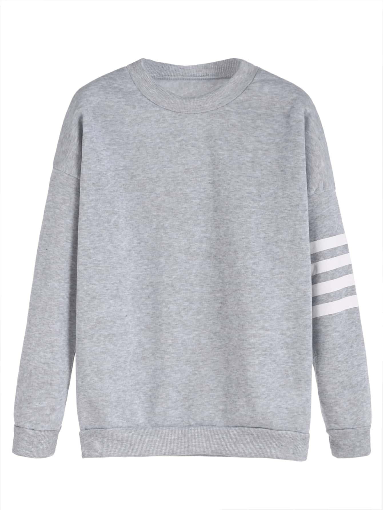 Фото Pinstripe Sleeve Dropped Shoulder Seam Sweatshirt. Купить с доставкой