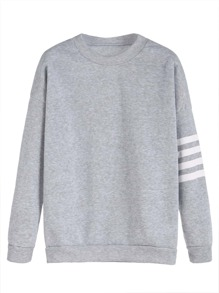 Pinstripe Sleeve Dropped Shoulder Seam Sweatshirt