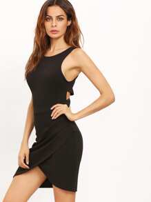 Black Cutaway Sleeveless Wraparound Rouched Bodycon Dress