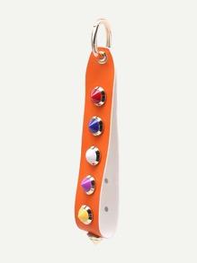 Accesorio de bolso de pu con tachuelas en contraste - naranja