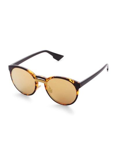 Leopard Frame Mirror Lens Sunglasses