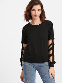 Black Cut Out Sleeve T-shirt